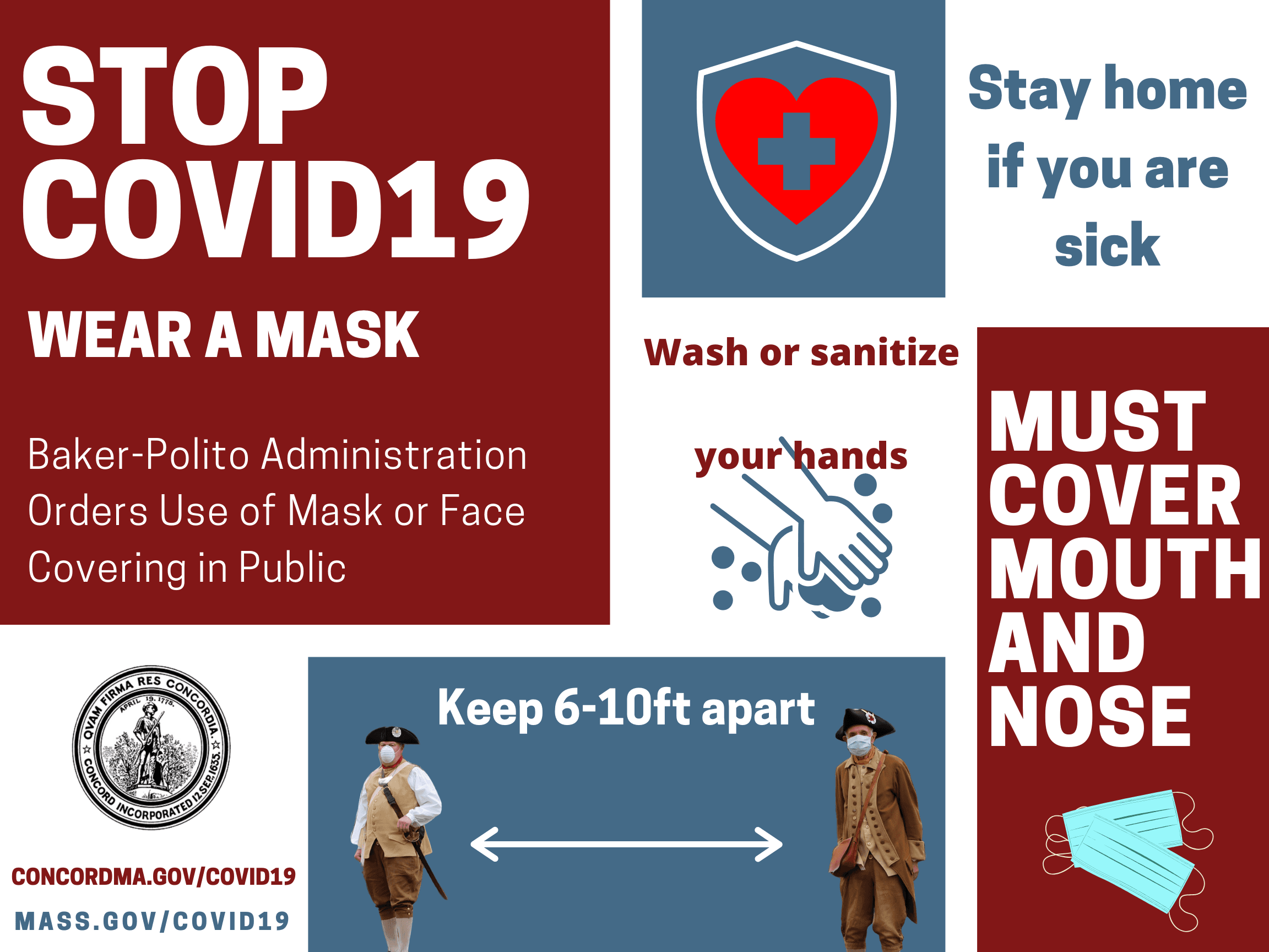 COVID poster with wear a mask, wash your hands, keep your distance